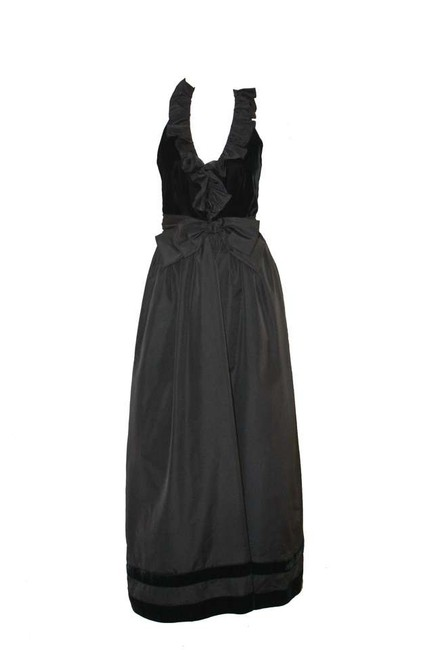 Other Velvet Vintage Party Vintage Holiday Lee 70's Union Made Black Black Ruffle Gown Velvet Gown Gown Ball Gown Fall Dress