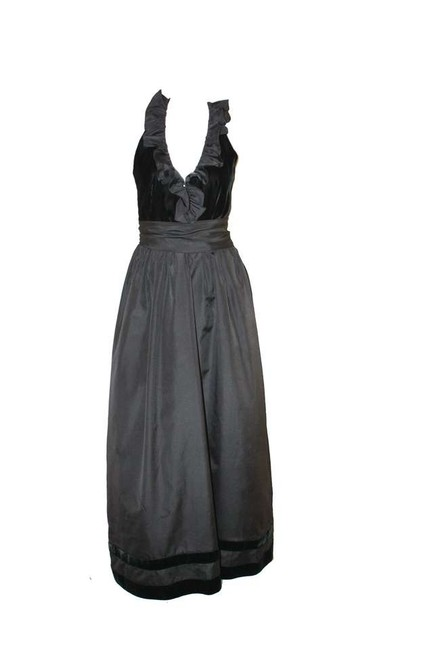 Other Velvet Vintage Party Vintage Holiday Lee Jordan 70's Union Made Black Black Ruffle Gown Velvet Gown Gown Ball Dress
