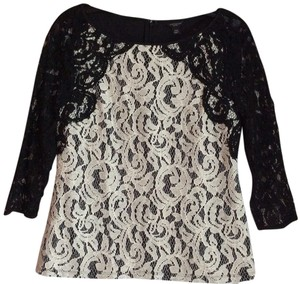 Ann Taylor Lace Black White Sprng Summer Top
