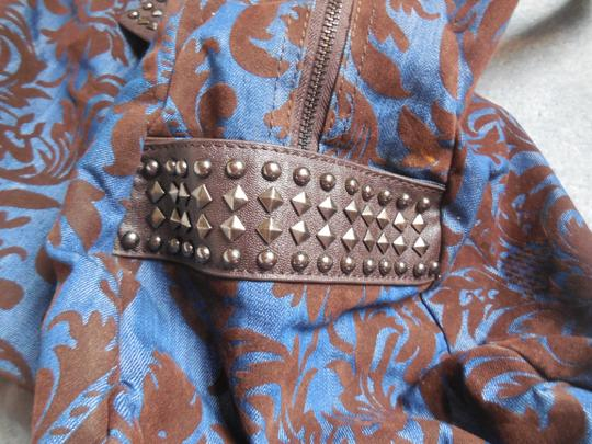 Imoshian Studded Vegan Faux Leather Satchel in Blue with Brown
