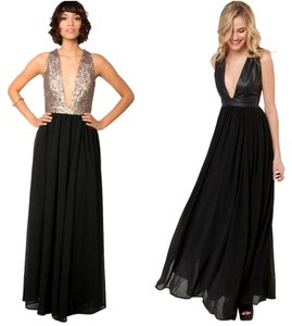 Nasty Gal Plunge Gown Maxi Deep V Open Sequin Dress