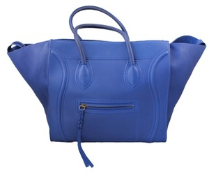 Céline Azure Leather Suede Tote in Royal Blue