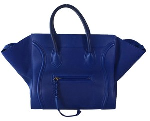 Céline Azure Leather Suede Phantom Tote in Royal Blue
