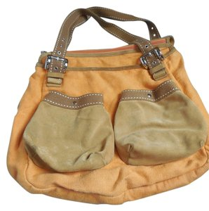 Desmo Linen Suede Dust Key Chain Clip Adjustable Handles Satchel in Orange and Brown