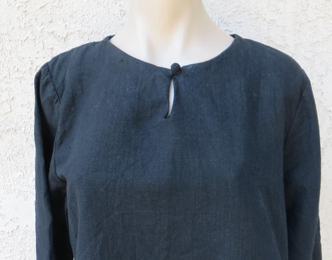 Hot Cotton Linen Cotton Blend Easy Fit Boxy Long Sleeeve Summer Spring Resort Keyhole Neck Top black