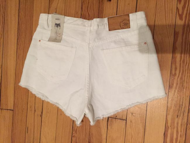 Zara High Waist Distressed Cut Off Mini/Short Shorts White/silver