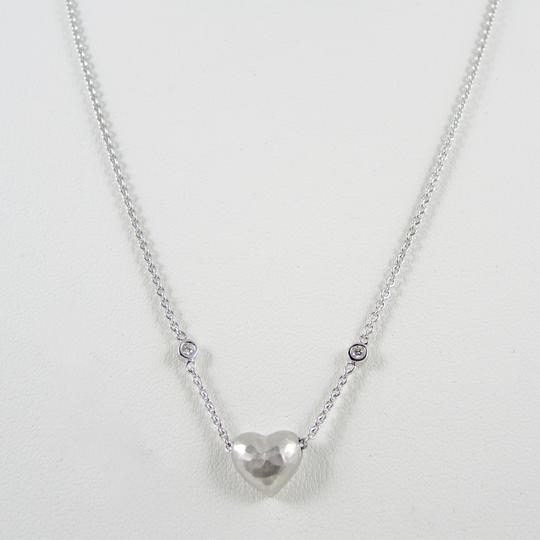 Tiffany & Co. Tiffany & Co. Paloma Picasso 18K White Gold Hammered Heart on Diamond Bezel Chain - Retail $2500 (Retired)