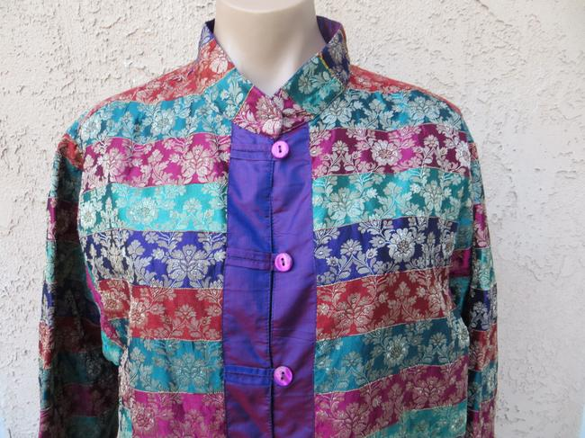 Chico's New With Tags Rainbow Stripe Silk Blend Asian Inspired Mandarin Jacket Button Front Long Sleeve Lightweight Size 1x Tunic