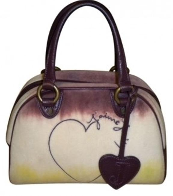Item - Ombre J'aime Bowler Burgundy/Off White/Lime Green Velour/Leather Tote