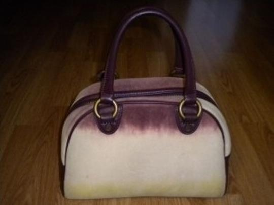 Juicy Couture Tote in Burgundy/Off White/Lime Green