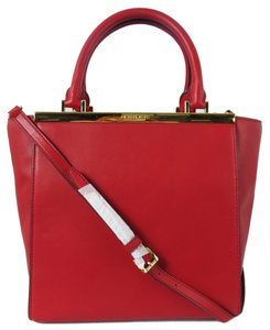 Michael Kors Lana Structured Goldtone Hardware Top Zip Closure Leather Satchel in Red