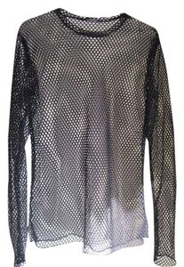 Fishnet See Through Mesh Top Black