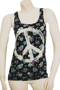 H&M Floral Flowered Flowers Top navy, light blue, liliac, green, white