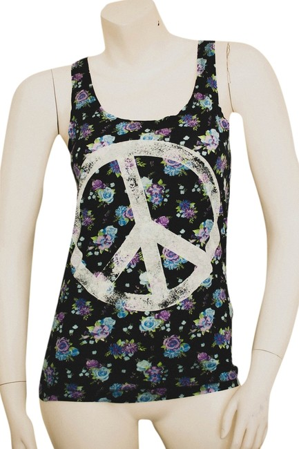 H&M Floral Flowered Flowers Flower Boho Vintage Style Bohemian Hippy Hipster Cochella Rose Roses Cotton Stretchy Graffiti Top navy, light blue, liliac, green, white