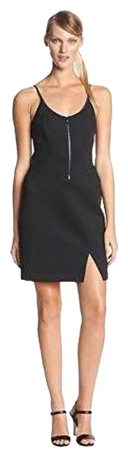 Ali Ro Lbd Slit Sphaghetti Strap Bodycon Zipper Front Mini Dress