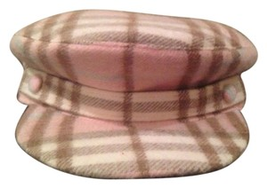 Burberry Authentic Burberry pink plaid wool newsboy hat
