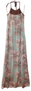 Turquoise with White & Brown Flowers Maxi Dress by LAmade Maxi Floral Summer