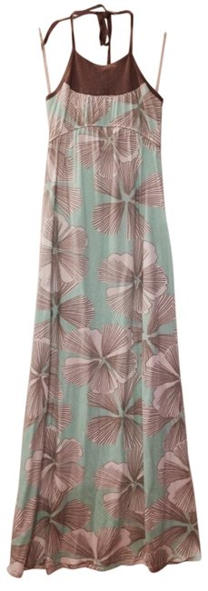Turquoise with White & Brown Flowers Maxi Dress by LAmade Maxi Floral Summer Full Length Halter