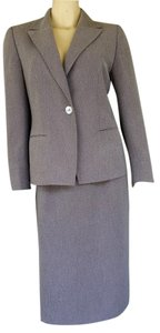 Kasper KASPER Gray Ribbed Career Skirt Suit 8P Petite 8