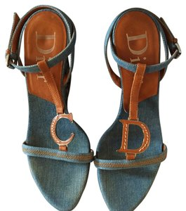 Dior Medium Blue Denim & Tan Leather Wedges