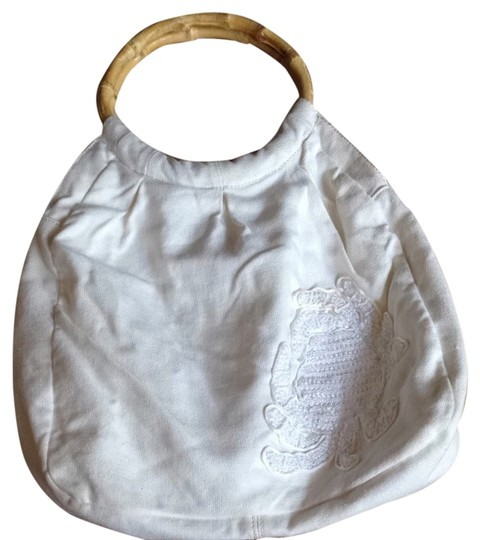 J.Crew Linen Critter Embroidered Crab Bamboo Tote in Ivory