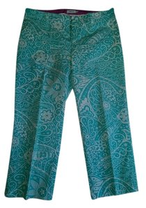 Izod Capris Turquoise and white