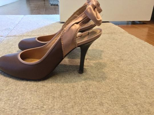 Lanvin Dark Taupe And Pink Pumps