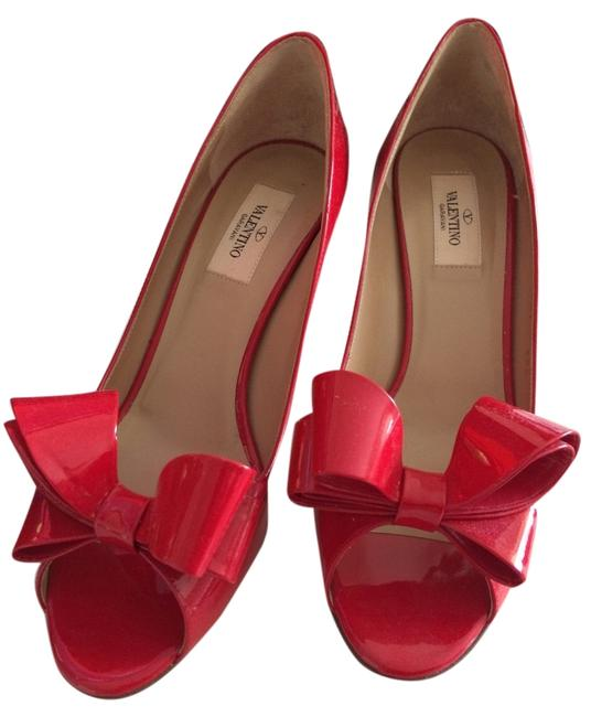 Item - Red Couture Patent Bow Low Heel Stiletto Pumps Size US 9 Regular (M, B)