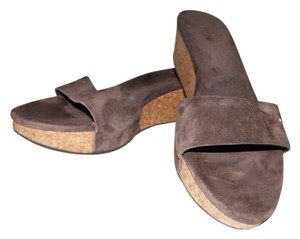 UGG Australia Suede Slide Platform Wedge Glitter Brown Sandals