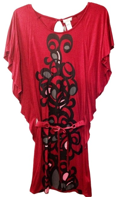 DEPT short dress Red with mostly black print on Tradesy
