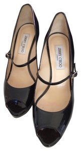 Jimmy Choo Platform Heels Work Classic Special Occasion Luxury Designer Leather Black Patent Pumps