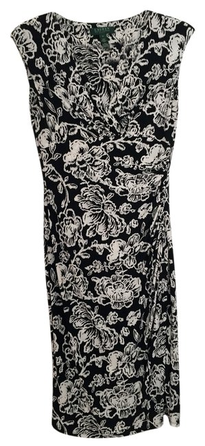 Item - Black and White Floral Long Work/Office Dress Size 4 (S)