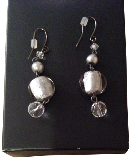 White House | Black Market Grey And Crystal Drop Earrings