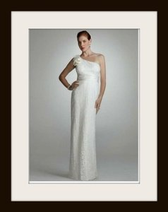 David's Bridal Ivory Lace Sheath Feminine Wedding Dress Size 4 (S)