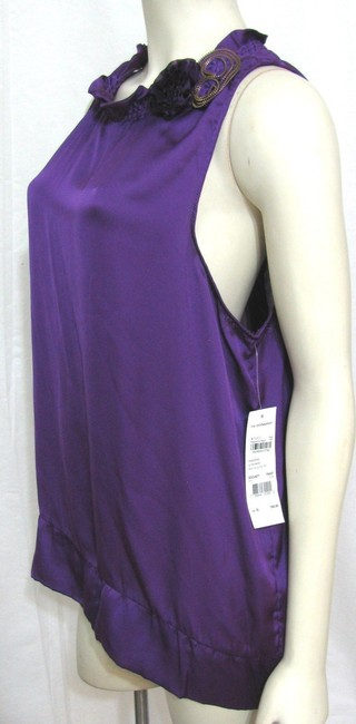 NY Collection Sleeveless 18 Flower Floral Brooch New York Top purple