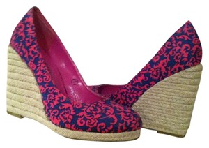 C Label Navy, Hot Pink Wedges