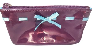 Kenneth Cole Patent Leather Logo Cosmetic Eggplant Clutch