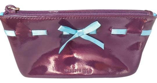 Kenneth Cole Patent Leather Logo Cosmetic Ribbon Zipper Eggplant Clutch