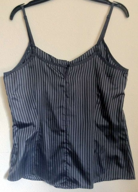 Ben Sherman Camisole Collar Menswear Silk Striped Top Gray