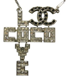 Chanel Chanel Necklace Pendant Crystal Love Coco CC Logo Pixelated Pixels Black White Swarovski Baguettes Square Classic Timeless