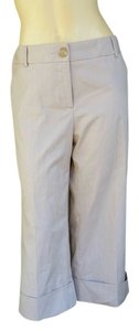 Harold Powell Cropped Striped Capris Beige