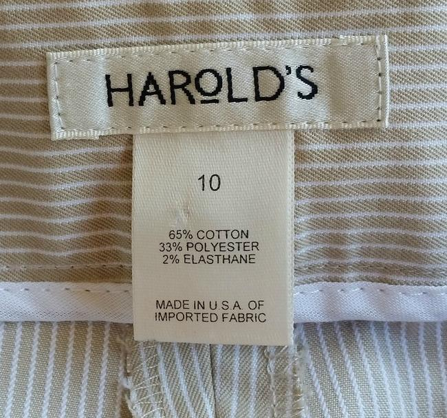 Harold Powell Cropped Striped Sarah Fit Capris Beige