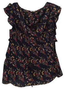 Odille Top (Anthropologie) Dark Blue with Colorful Florals