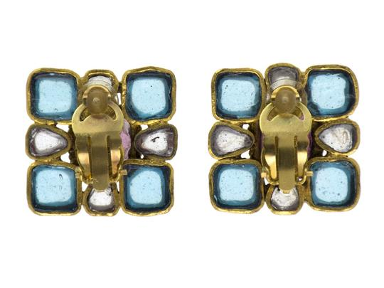 Chanel CHANEL VINTAGE GRIPOIX SQUARE EARRINGS