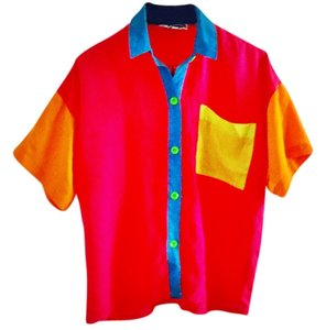 Gamma Los Angeles Polyester Button Down Shirt color-block