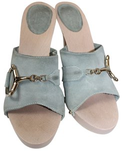 Gucci Suede Leather Wooden Heels LIGHT BLUE Sandals