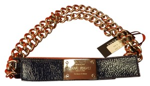 Versace GIANNI VERSACE BLUE LEATHER 2 CHAINS SILVER TONE BUCKLE BELT 80 32