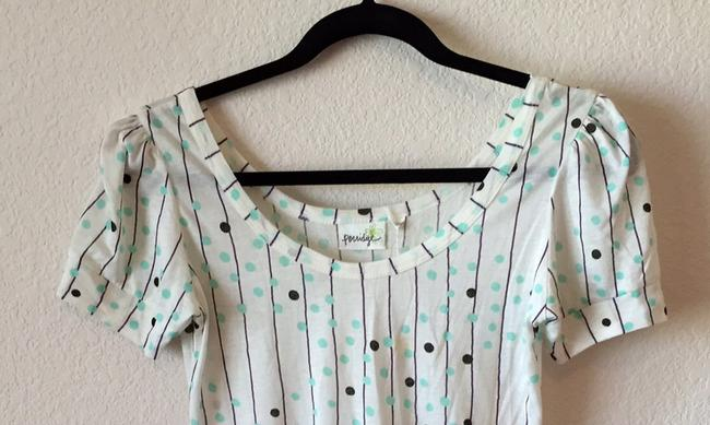 Anthropologie T Shirt White with polka dots