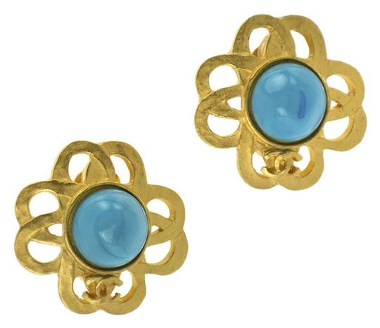 Chanel CHANEL TURQUOISE FLORAL EARRINGS