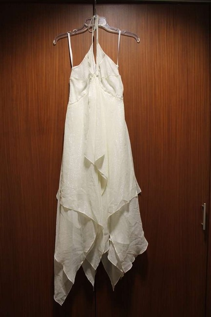 Item - Cream Bcbg Color Silk Halter Gown with Rhinestones Layers & Shimmers Modern Wedding Dress Size 0 (XS)